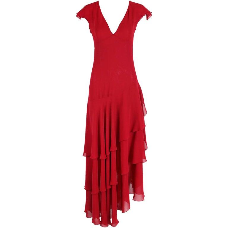 Emanuel Ungaro Red Silk Gown W/Ruffle Hem