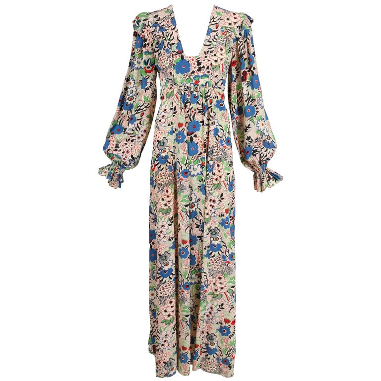 Ossie Clark Celia Birtwell Pretty Woman Printed Marocain Smock Dress, 1970s
