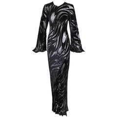 Halston Documented Black Silk Velvet Burnout Tulip Pattern Evening Gown, 1977