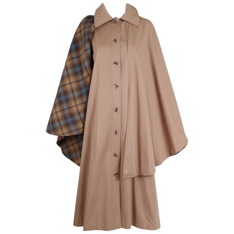 Yves Saint Laurent YSL Khaki Coat Cape with Plaid Interior, 1970s