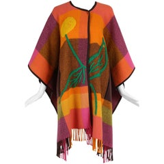 JC de Castelbajac Plaid Wool Poncho with Oversized Embroidered Flower Design