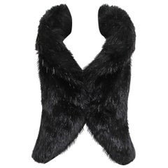 Chanel Black Faux Fur & Bead Vest w/Dramatic Collar