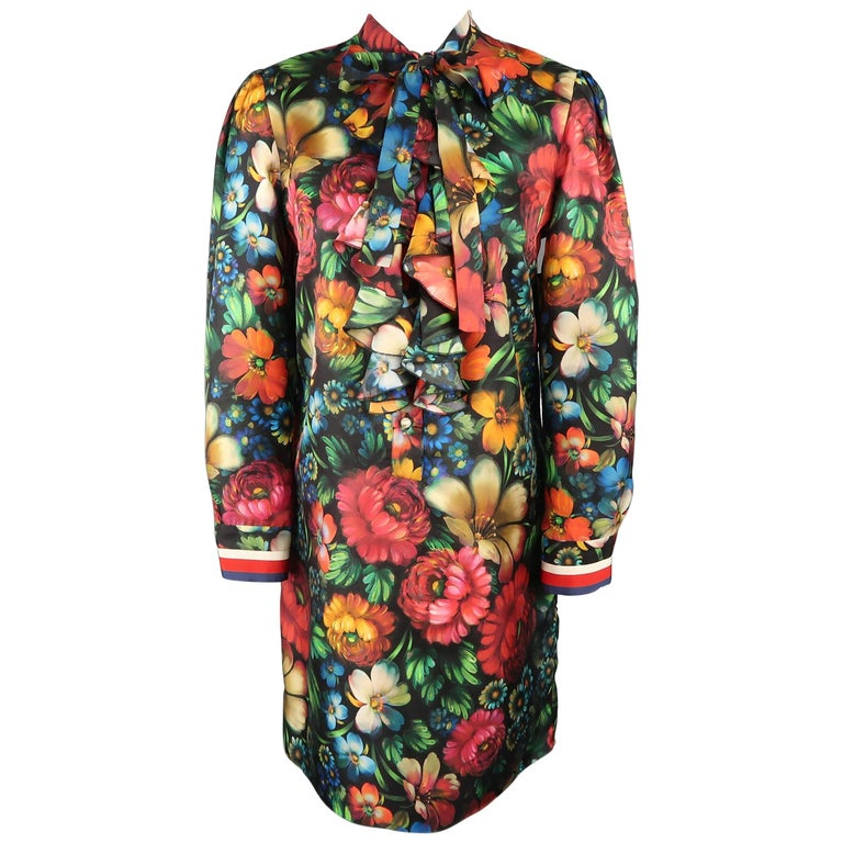 Gucci Painted Floral Print Silk Ruffled Bow Collar A Line Dress