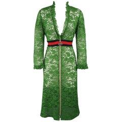 Gucci Green Ruffled Lace Striped Waist Zip A Line Dress