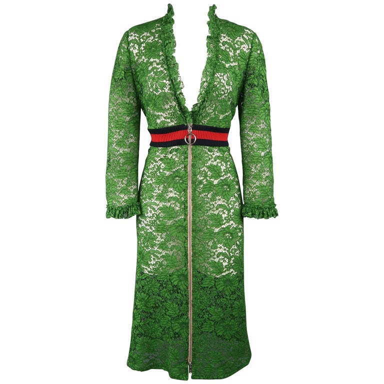 Gucci Green Ruffled Lace Striped Waist Zip A Line Dress For Sale