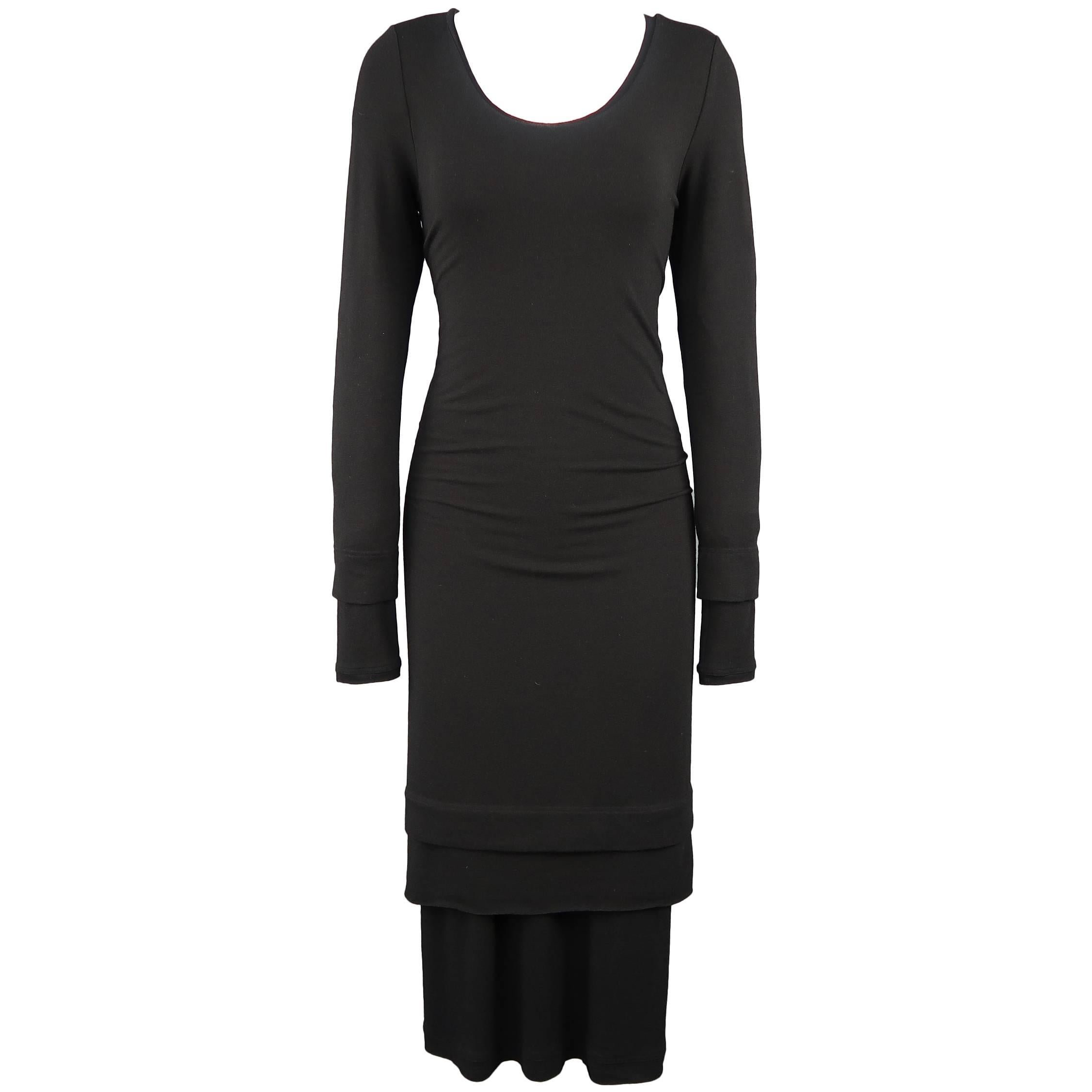 DONNA KARAN Size M Black Layered Jersey Long Sleeve Maxi Sheath Dress