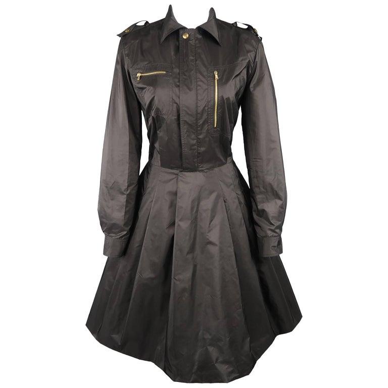 RALPH LAUREN Size 8 Black Silk Taffeta Pleated Skirt Sahara Dress