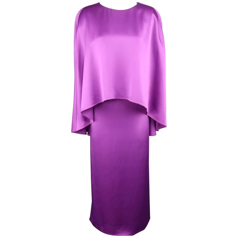 OSCAR DE LA RENTA Size S Orchid Purple Silk Cape Kaftan Dress