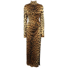 LEONARD - PARIS Size M Cheetah Print High Neck Draped Cocktail Dress