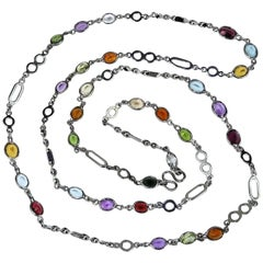 36 Inch Sterling Silver Chain with Oval Gemstones Necklace