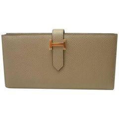 Hermès Béarn Soufflet Wallet Gris Asphalte Epsom Leather Gold H claps Like New