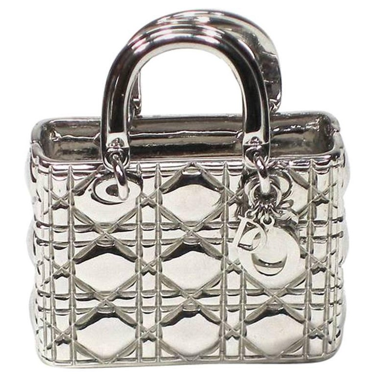Piéce Collectible Iconic Lady Dior Bag Make-up Mirror and Pill box