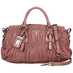 Prada Pink Gathered Leather Satchel