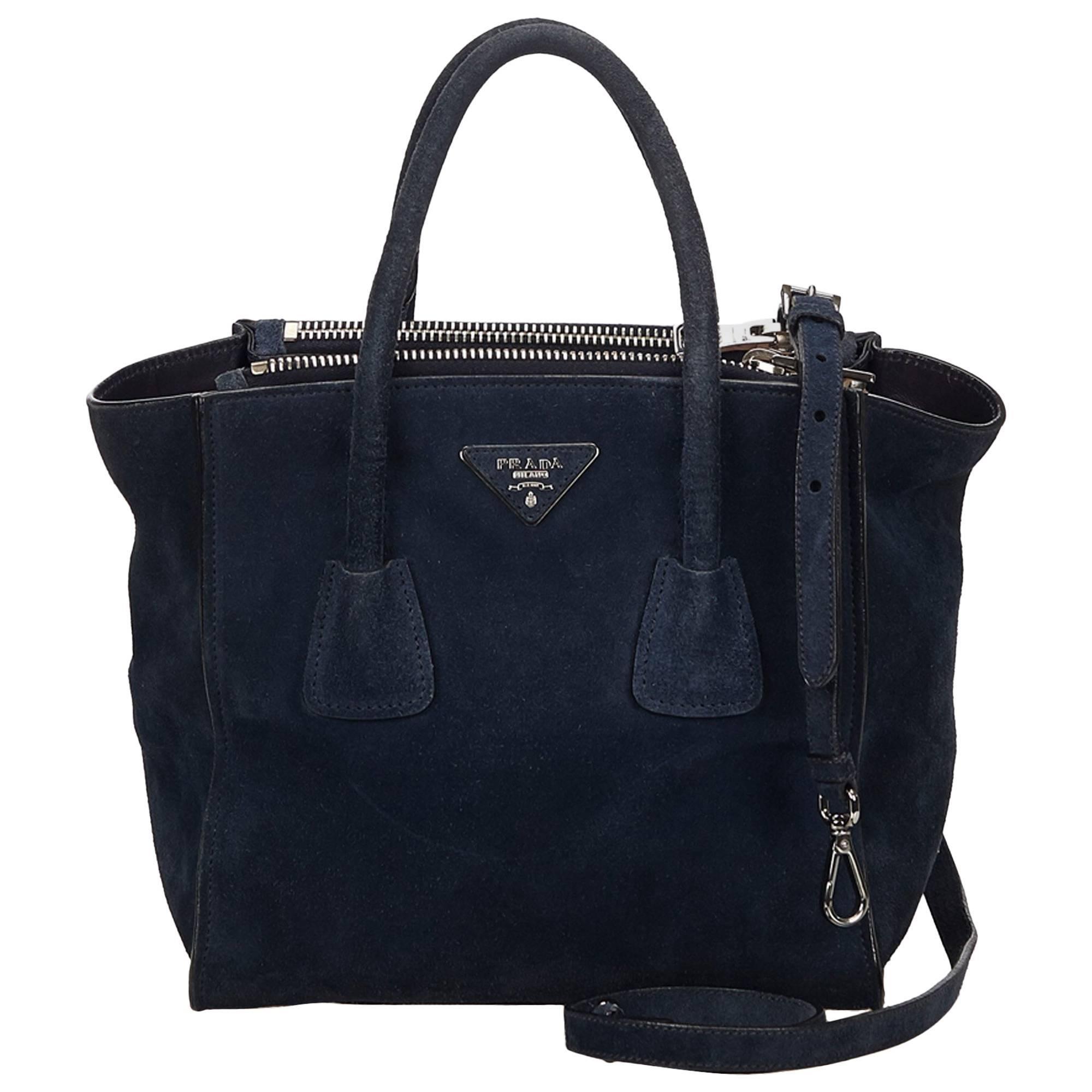 fc7a9e459362 uk prada dark blue suede twin pocket bag for sale 36cd5 c58e4