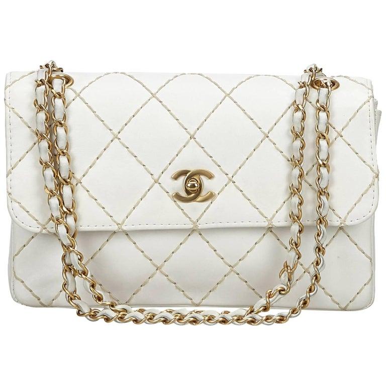 Chanel White Surpique Leather Flap Bag