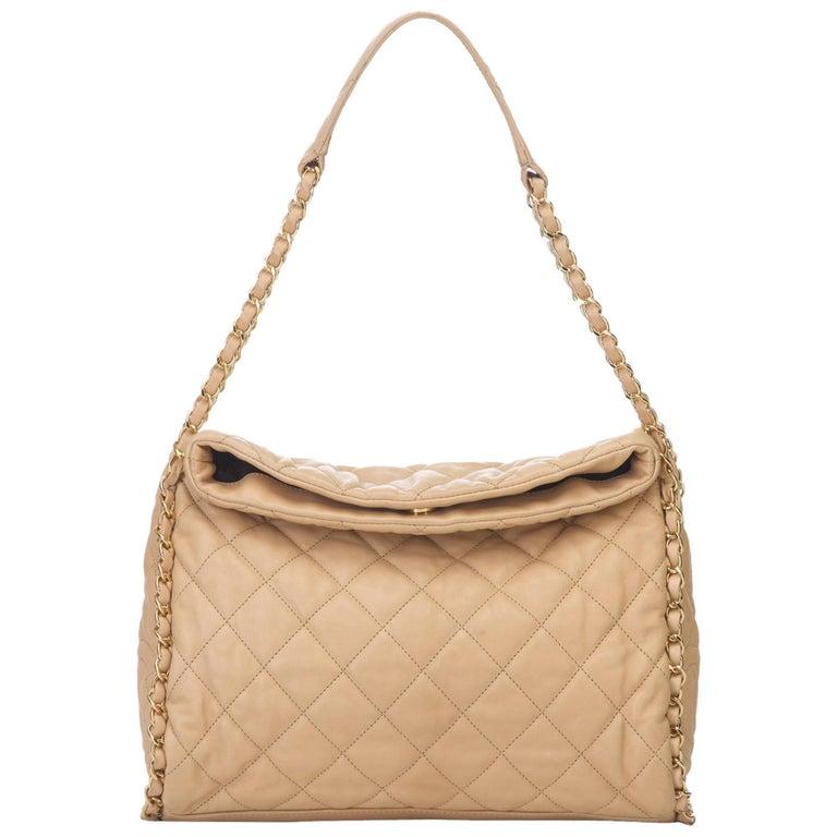facf0dab69 Chanel Beige Matelasse Lambskin Leather Shoulder Bag at 1stdibs