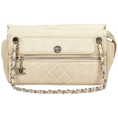 Chanel Ivory Perforated Leather Chain Bag