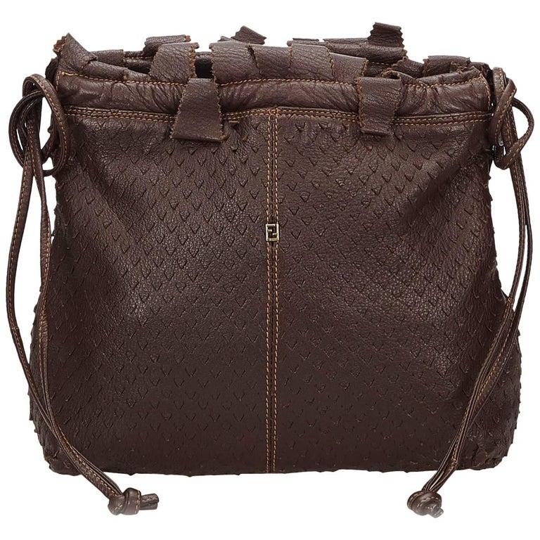 90b741a00b Fendi Dark Brown Leather Shoulder Bag