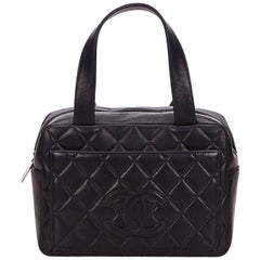 Chanel Black Matelasse Lambskin Leather Handbag