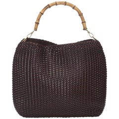 Gucci Brown Bamboo Woven Leather Handbag