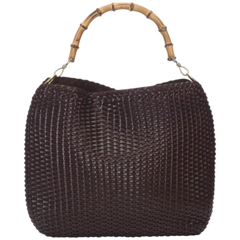 Gucci Brown Bamboo Woven Leather Handbag For
