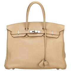 Hermes Beige Swift Birkin 35 Bag