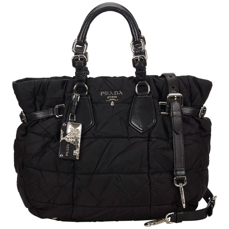 Prada Black Gathered Nylon 2 Way Bag For