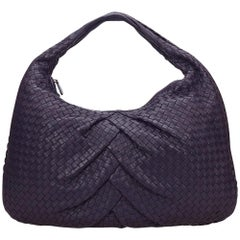 Bottega Veneta Purple Leather Intrecciato Hobo Bag