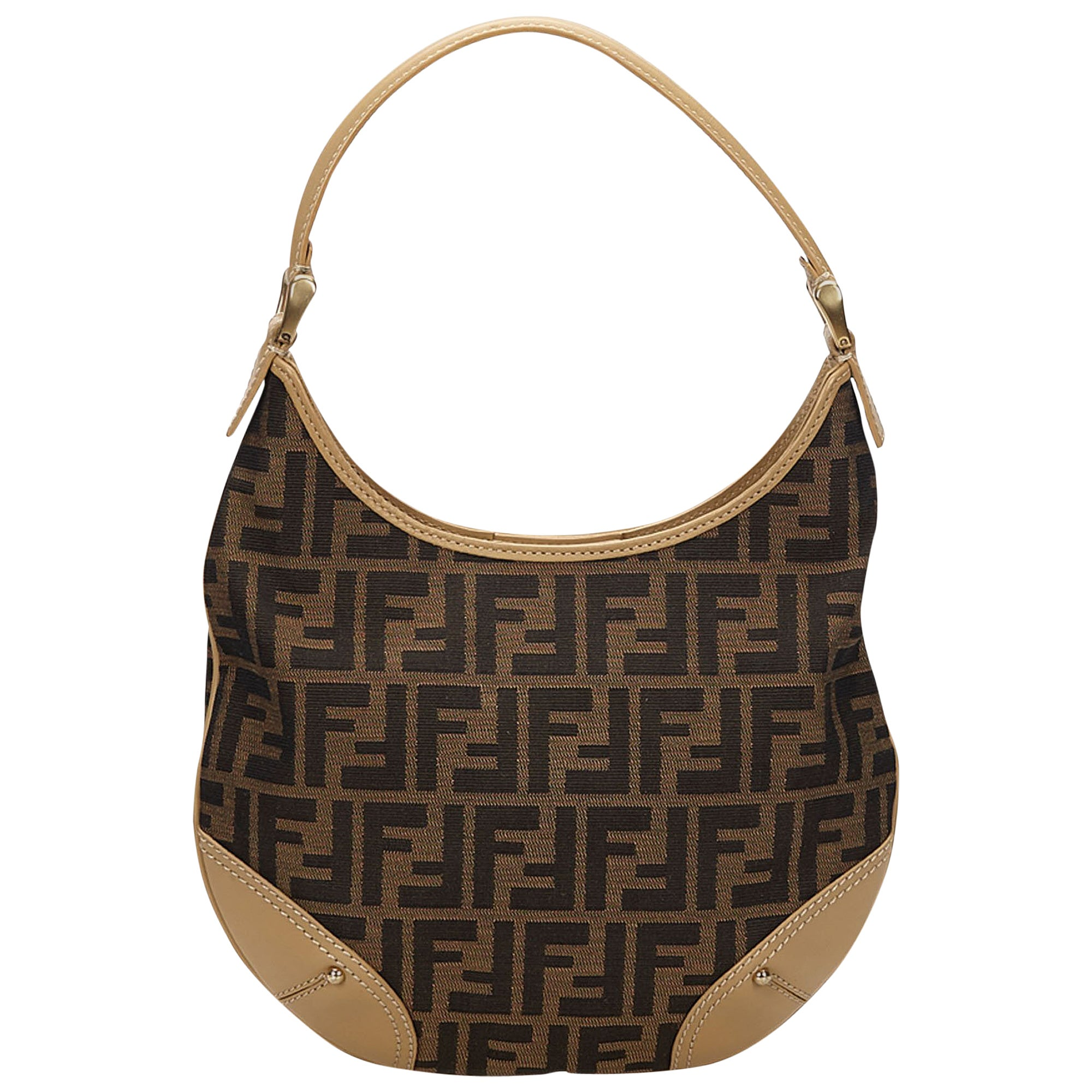 b85e695c5d37 Fendi Brown Zucca Jacquard Hobo Bag For Sale at 1stdibs