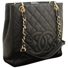 Chanel Caviar Chain Black Quilted Shoulder Bag Shopping Tote