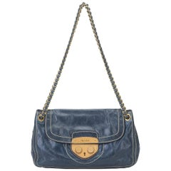 Prada Blue Leather Pattina Shoulder Bag