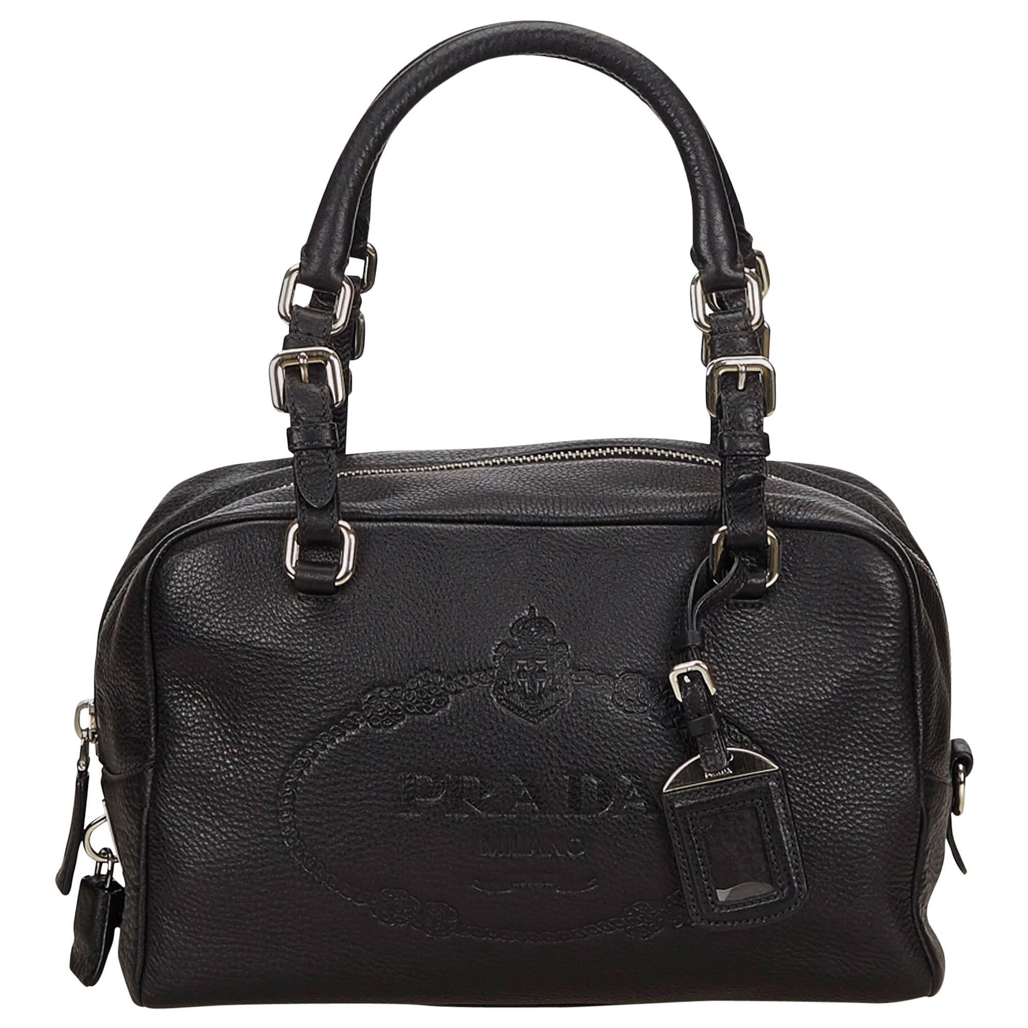 Prada Black Vitello Daino Bauletto Bag at 1stdibs 73295b8c107e3