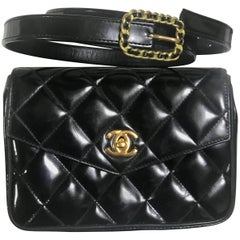 Chanel Vintage 2.55 black patent enamel fanny pack with chain buckle skinny belt