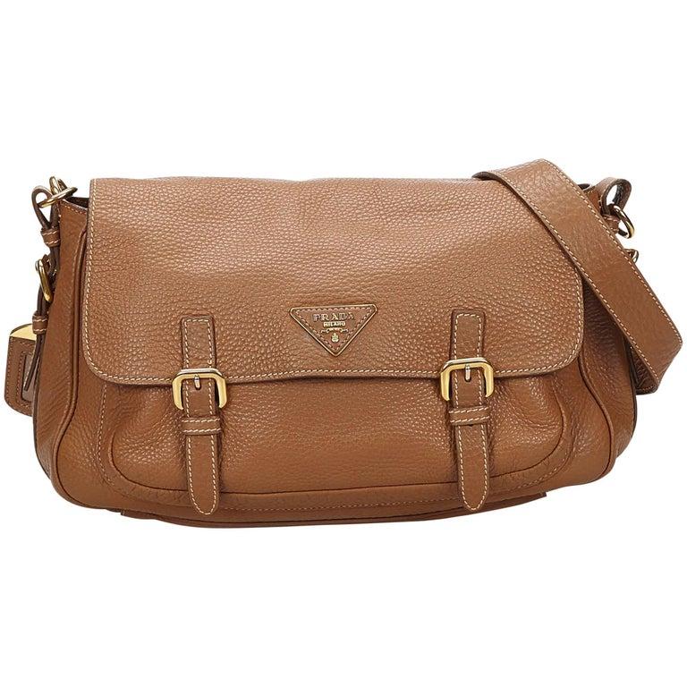 0aed762da2d5 Prada Brown Leather Shoulder Bag at 1stdibs