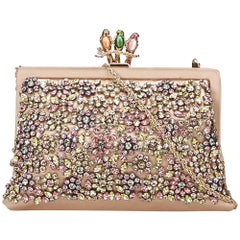Valentino Pink Beaded Satin Chain Frame Bag