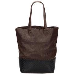 Bottega Veneta Dark Brown Intrecciato Leather Tote Bag