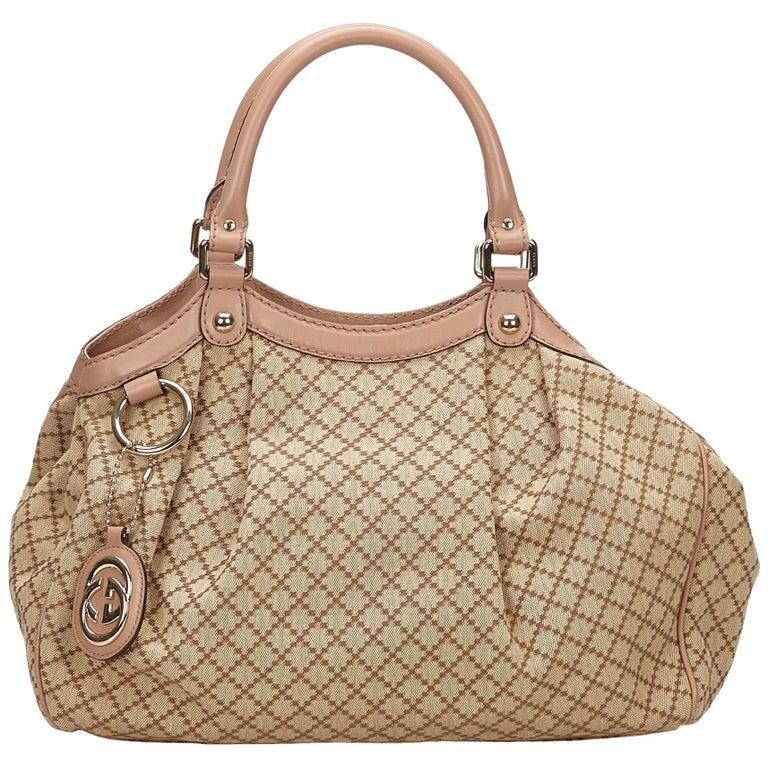 Gucci Light Brown Diamante Sukey Tote Bag