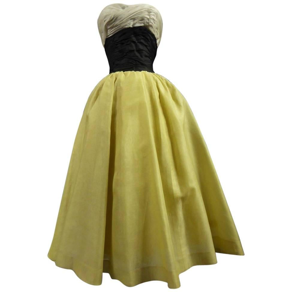 Organza Haute Couture evening dress France, Circa 1955