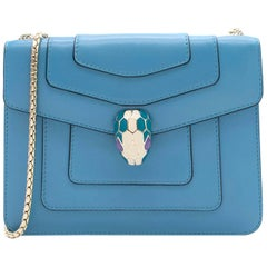 "Bvlgari ""Serpenti Forever"" Blue Flap Cover Bag"