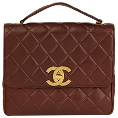1994 Chanel Brown Quilted Lambskin Vintage XL Classic Single Flap Bag