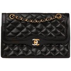1991 Chanel Black Quilted Lambskin Vintage Medium Paris Limited Double Flap Bag