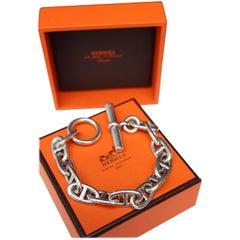 Hermès silver anchor chain bracelet