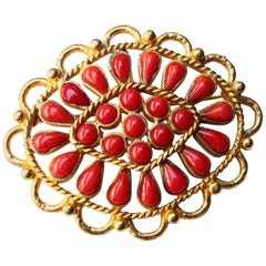 1993 Rare Gripoix pour Chanel gilded metal brooch with ruby red cabochons