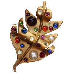 Chanel spectacular leaf-shaped brooch with multi color cabochons, 1990s