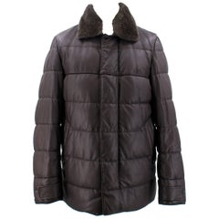 Loro Piana Reindeer Fur Collar Quilted Leather Jacket US 6