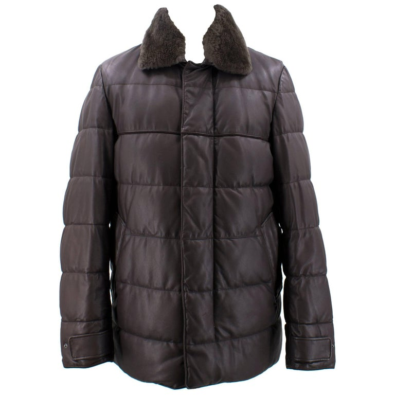 Loro Piana Reindeer Fur Collar Quilted Leather Jacket US 6 For Sale