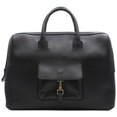 Ermenegildo Zegna Black Calf Leather Large Bag
