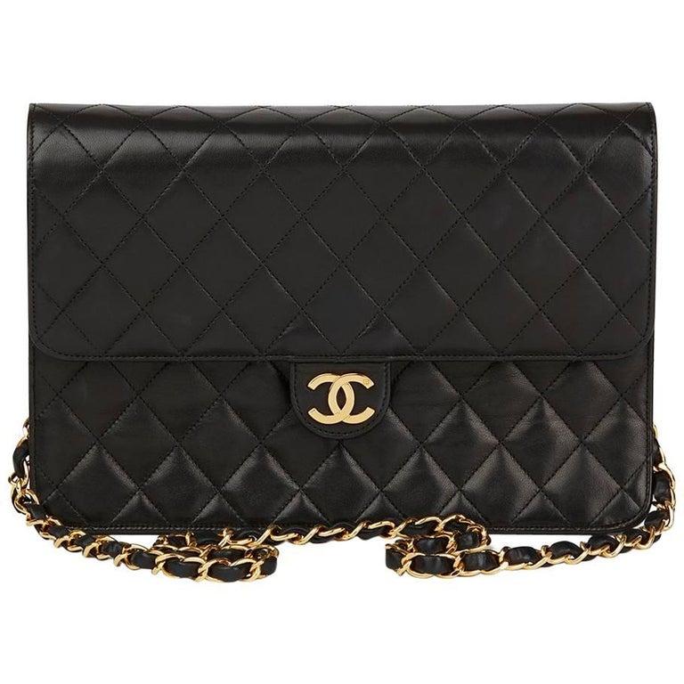 1994 Chanel Black Quilted Lambskin Vintage Medium Classic Single Flap Bag