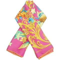 Versace Fuchsia and Multi Floral Print Scarf