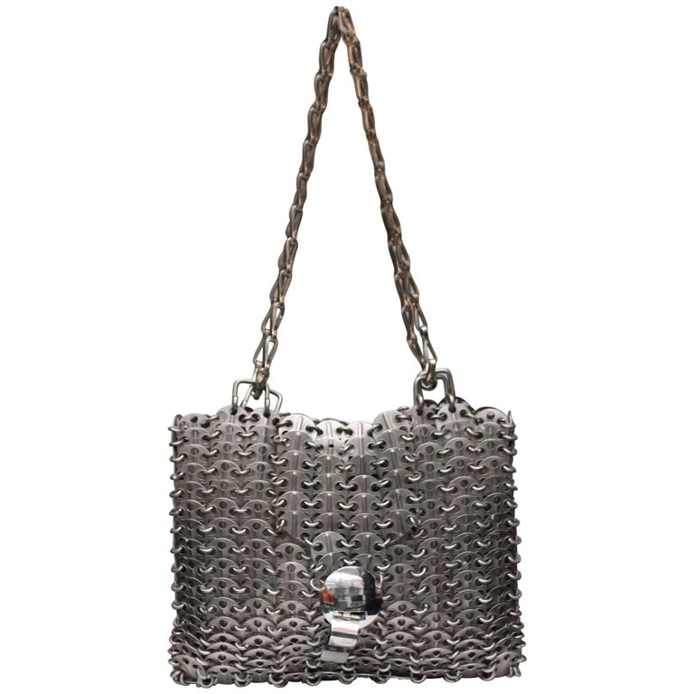 "Paco Rabanne silver tone metal ""69"" bag  For Sale"